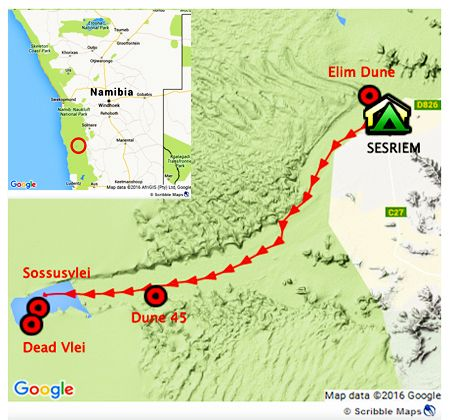 map of the travel we did in namibia, in the namib desert, from dune elim to sossusvlei