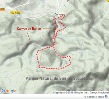 Map of the trail Canyon of Bailon near zuheros