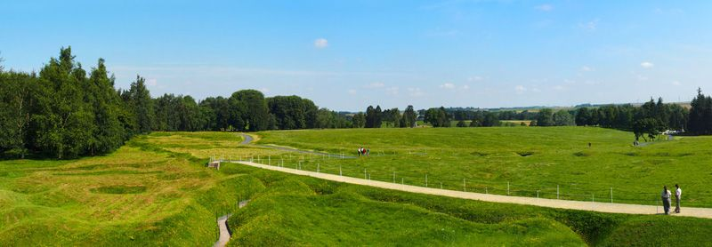 beaumont-hamel, panoramic view on the trenches buit during the first world war