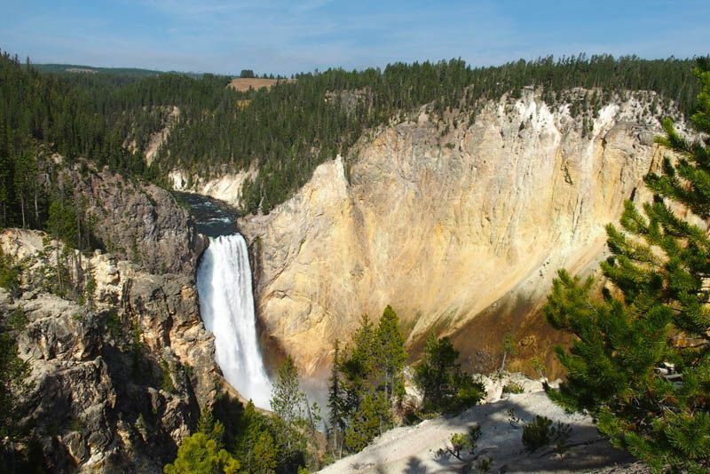 view from the south rim on the lower falls of the grand canyon of the yellowstone