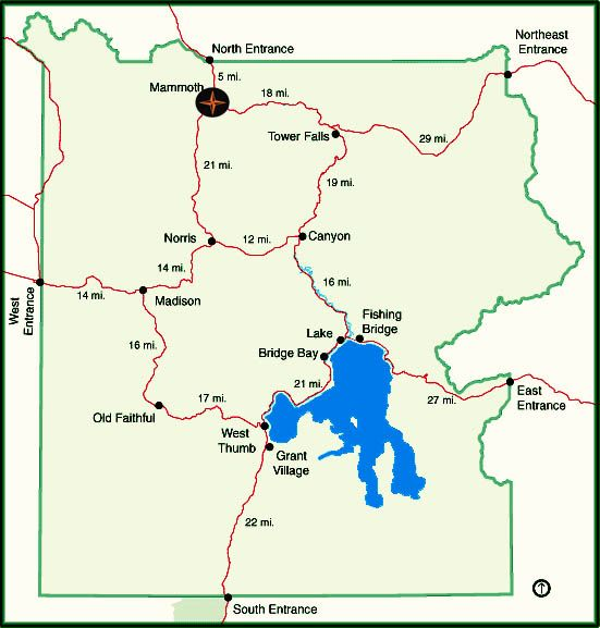 Map of yellowstone National Park showing Mammoth Hot Springs