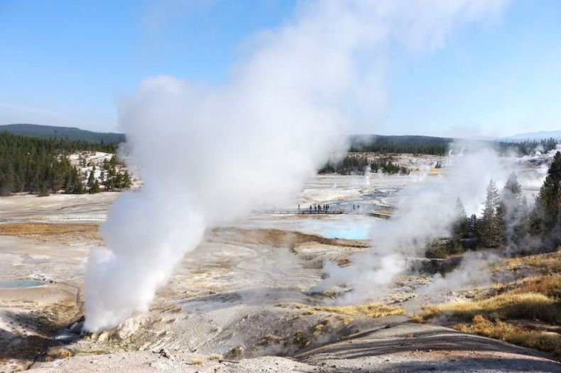 Sunday geyser in porcelain spring yellowstone
