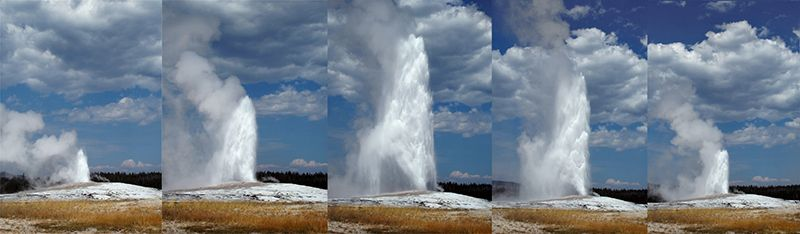 Eruption de Old Faithful au Yellowstone National Park