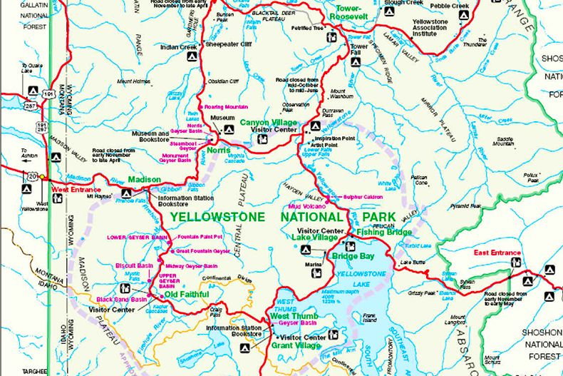 Carte officielle de Yellowstone et Plans détaillés des sites ...