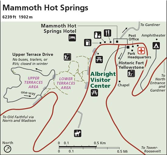 Carte Mammoth Hot Springs