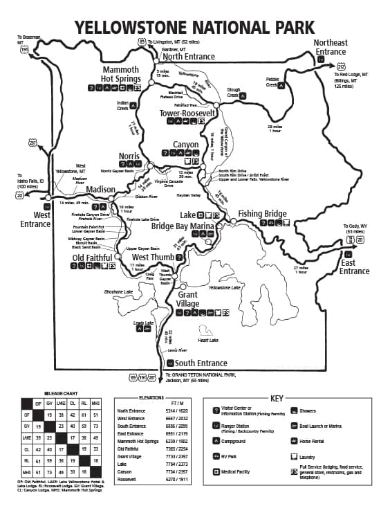 Yellowstone road map with mileage