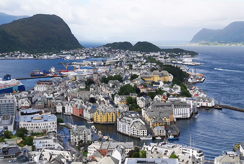 View on alesund norway from Fjellstua viewpoint