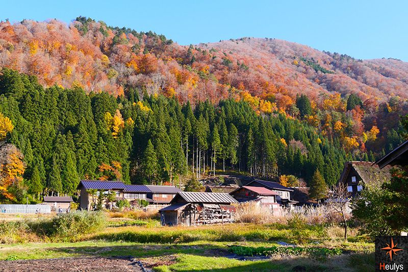 Ogimachi at the feet of the mountains