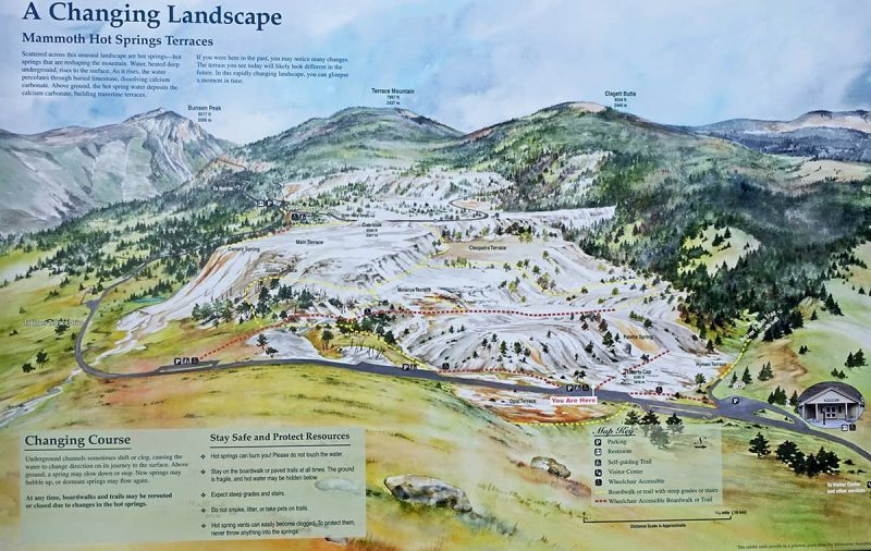 relief map of mammoth hot springs